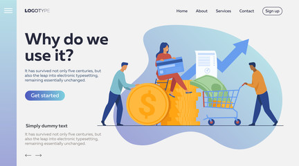 People investing their money in venture fund vector illustration. Business people financing high potential company innovation. Money transaction with credit card