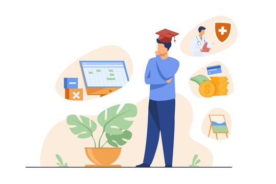 Male student choosing program in college. Young man in graduation cap thinking over future occupation. Vector illustration for opportunities, career advisor, choice concept