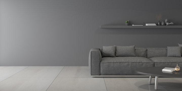 Perspective of modern luxury living room with grey sofa on dark wall, marble tile floor design,  3D rendering.