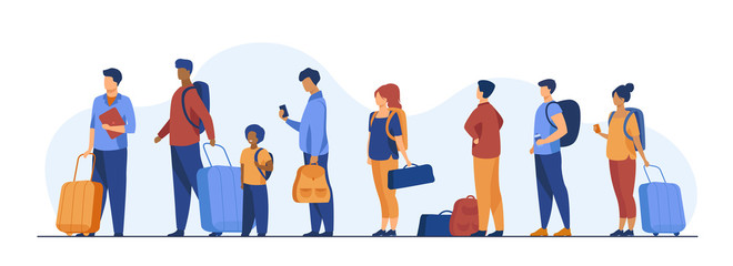 Group of tourist with luggage standing in line. Men, women, kid holding their bags and suitcases Vector illustration for trip, airport, travel, queue concept Fotomurales