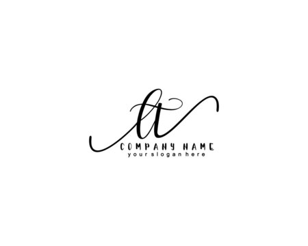 Letter LT handwrititing logo with a beautiful template