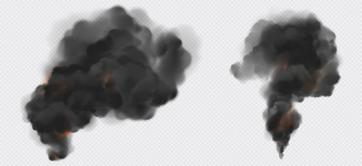 Black smoke or steam trails set, factory or plant industrial smog clouds isolated on transparent background, environmental air Co2 gas pollution, emission. Realistic 3d vector illustration, clip art Fotobehang