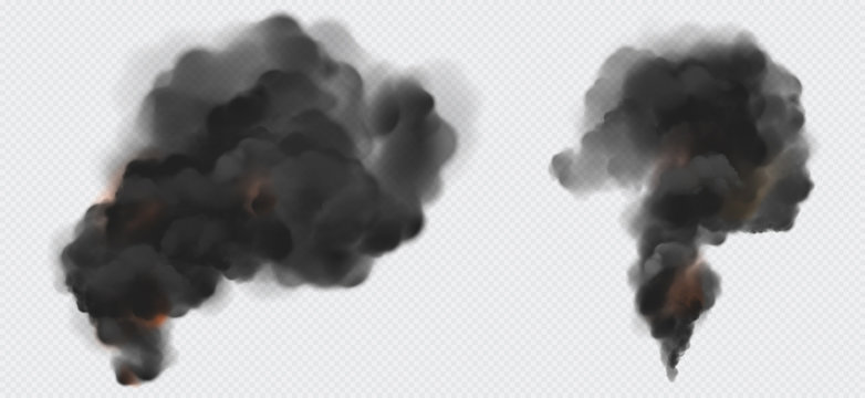 Black smoke or steam trails set, factory or plant industrial smog clouds isolated on transparent background, environmental air Co2 gas pollution, emission. Realistic 3d vector illustration, clip art