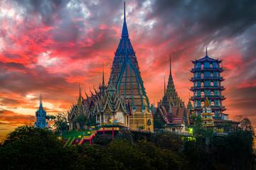 Wall Murals Place of worship temple wat Tham sta , Kanchanaburi, Thailand.Focus Temple