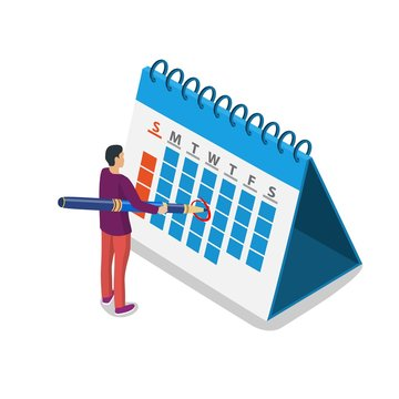 Mark calendar isometric icon. Businessman making a mark. Date circled. Week day month. Mockup of page. Appointment. . Vector illustration in flat style