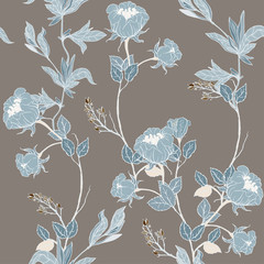 Papiers peints Fleurs Vintage Delicate pink twigs of wild roses with inflorescences, leaves and petals on a dark blue background. Floral seamless pattern.