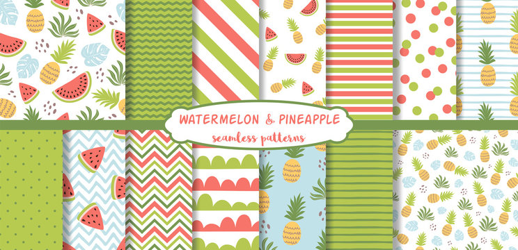 Watermelon seamless pattern set pineapple Cute summer tropical background collection Green red geometic vector