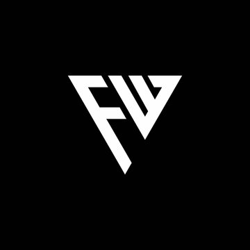 FW Logo letter monogram with triangle shape design template