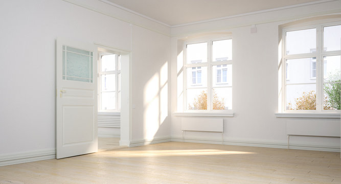 Empty renovated apartment - panoramic 3d visualization