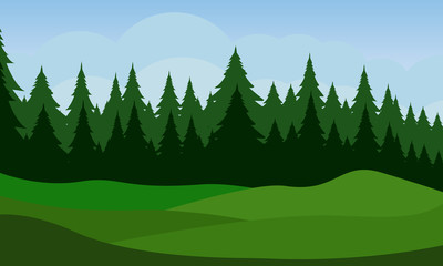 Photo sur Aluminium Vert Landscape with green yard and tree on blue sky background.Flat vector design.
