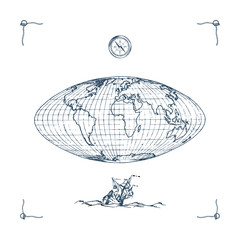 Graphic illustration of Earth globe map with compass and sailing vessel. Drawn sketch in vector.