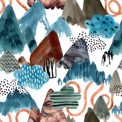Watercolor mountain art background. Abstract landscape seamless pattern