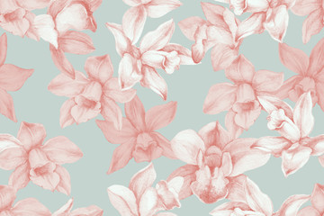 Orchids seamless pattern. Kitchen panel concept