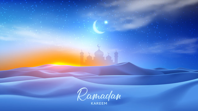 Ramadan Kareem holiday banner. Realistic night desert landscape with starry sky, crescent and clouds. 3d vector illustration with silhouette of mosque. Greeting card for muslim festival.
