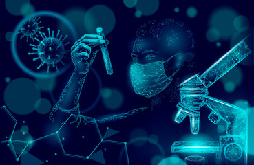 Woman doctor scientists hold test tube. Safety medical mask virus microscope vaccine. Developing pandemic coronavirus pneumonia treatment. Healthcare immunization research vector illustration