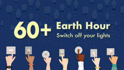 60+ Earth hour on March 28, 2020 . Switch off the light for 1 hour. Voice for the planet concept. Hands from multiethnic people. Male and female, Vector illustration, flat design