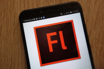 KONSKIE, POLAND - SEPTEMBER 01, 2018: Adobe Flash logo displayed on a modern smartphone