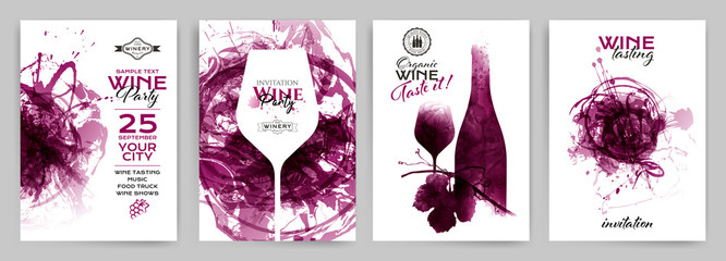 Collection of templates with wine designs. Brochures; posters; invitation cards; promotion banners; menus.