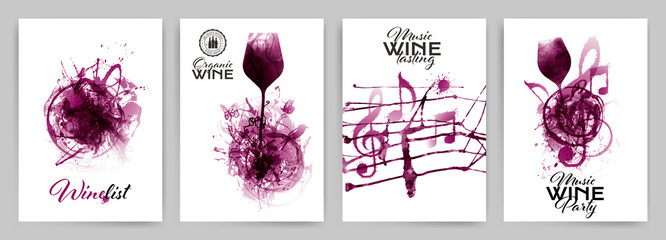 Set with strokes backgrounds and red wine stains. Artistic music symbols with spots.