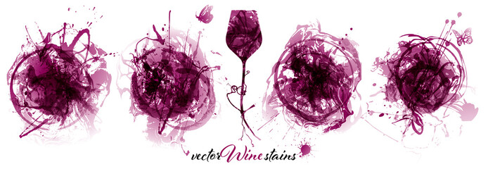 Zelfklevend Fotobehang Vlinders in Grunge Set with strokes backgrounds and red wine stains. Artistic graphic resource for your wine designs.