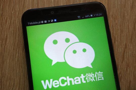 KONSKIE, POLAND - SEPTEMBER 01, 2018: WeChat logo displayed on a modern smartphone