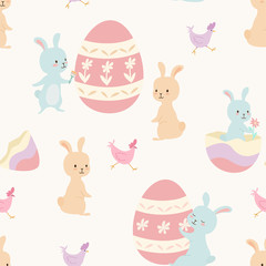 Easter pattern. Vector seamless texture with easter eggs, bunnies and chicken.
