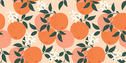 Photo sur Aluminium Artificiel Orange pattern. Vector seamless texture.