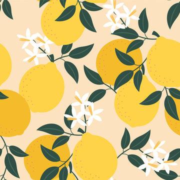 Lemon pattern. Vector seamless texture.