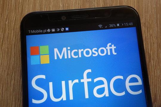 KONSKIE, POLAND - SEPTEMBER 01, 2018: Microsoft Surface logo displayed on a modern smartphone