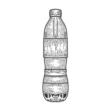 plastic bottle sketch engraving vector illustration. T-shirt apparel print design. Scratch board imitation. Black and white hand drawn image.