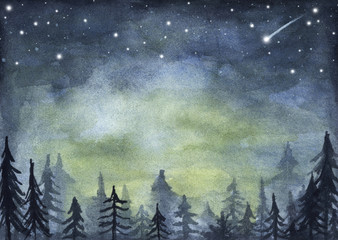 Stores photo Olive Peaceful spruce forest under night sky full of stars. Fog forest landscape. Watercolor illustration.