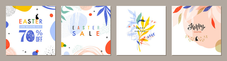 Trendy Easter square abstract templates. Suitable for social media posts, mobile apps, cards, invitations, banners design and web/internet ads.