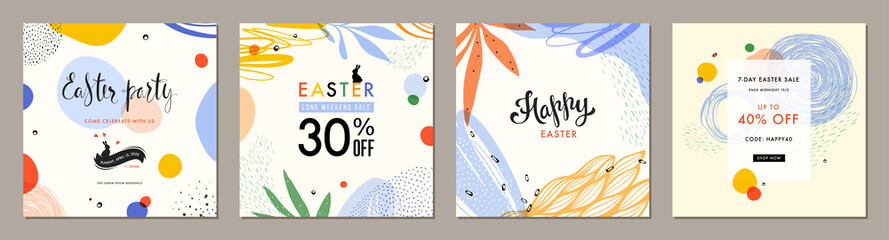 Wall Mural - Trendy Easter square abstract templates. Suitable for social media posts, mobile apps, cards, invitations, banners design and web/internet ads.