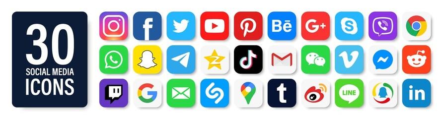 450 social media icons. Facebook, instagram, tiktok, twitter, youtube, messenger, gmail, pinterest, google, viber, whatsap, linkedin, telegram, Editorial vector. Vinnitsa, Ukraine - March 11, 2020.
