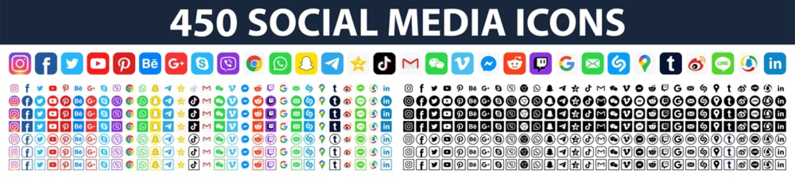 450 social media icons. Facebook, instagram, tiktok, twitter, youtube, messenger, gmail, pinterest, google, viber, whatsap, linkedin, telegram, Editorial vector. Vinnitsa, Ukraine - March 11, 2020.