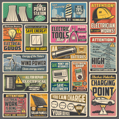 Electric power or energy vector electrical equipment retro banners. Solar panel, wind turbines and power station, battery, light bulb, plug and socket, multimeter, electricity meter, electric car