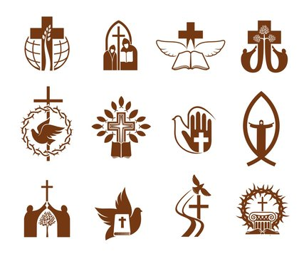 Christian religion vector icons with crosses, Jesus and bibles, doves, priest and prayers, angel, praying hand and crucifix, fish, crown of thorns and trees. Catholicism, orthodox christianity themes