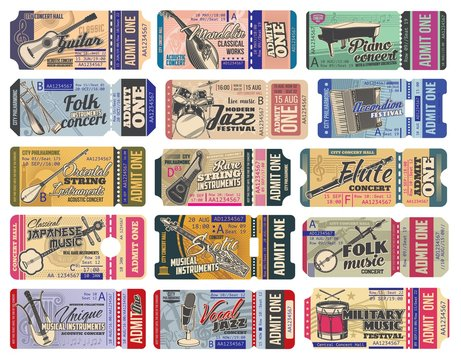 Music concert ticket with vector musical instruments, microphones and notes. Music event, party, festival and live show entrance pass mockups with guitar, piano and drums, flute and mandolin