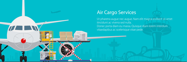 Banner air cargo services and freight, airplane with autoloader at the airport on the background of the city and text, unloading or loading of goods into the plane, vector illustration Wall mural