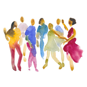 Hand drawn watercolor illustration. Dancing people. People shaped watercolor stains