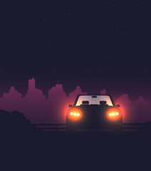 Night background with car vector, flat illustration