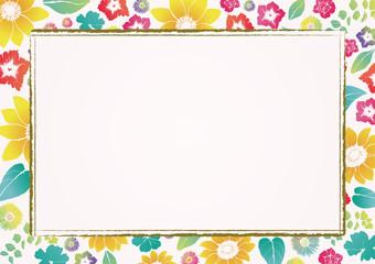 レトロなヒマワリの背景素材 夏の素材 和風 結婚式招待状の背景