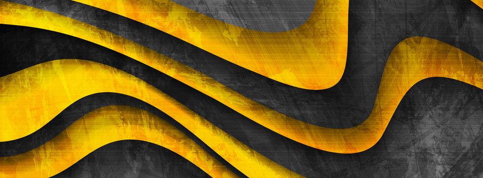 Dark yellow grunge waves abstract corporate banner design. Elegant wavy vector background