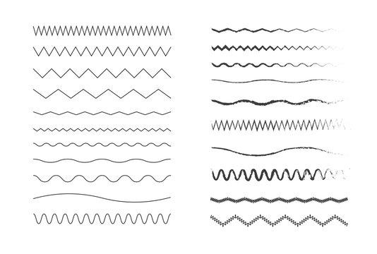 Wavy lines. Set of ink strokes. Vector illustration.