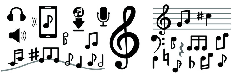 Musical notes isolated on white background. Signs of musical