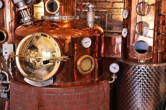 NUREMBERG, GERMANY - MAY 7, 2018: Whisky distillery in Nuremberg, Germany. Hausbrauerei Altstadthof distillery makes Ayrer's whisky brand.