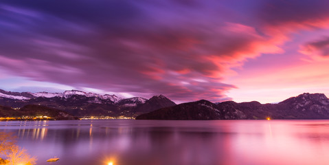 Photo sur Toile Grenat Sunset over Lake Lucerne. Long exposure.