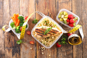Fototapete - healthy food, diet plan- chicken and vegetable with meter tape concept