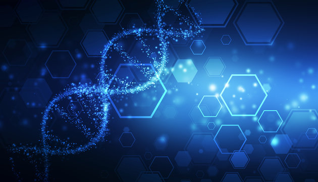 DNA structure, abstract medical and health care background, Abstract technology science concept DNA futuristic on hi tech blue background