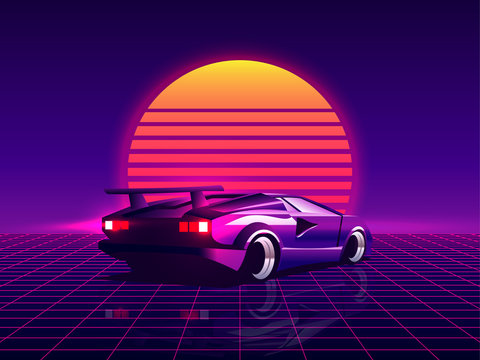 Retro futuristic back side view 80s supercar on trendy synthwave / vaporwave / cyberpunk sunset background. Back to 80's concept. Template design for poster, flyer or banner. Vector illustration.